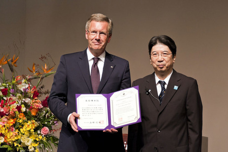 Bundespräsident Christian Wulff in der Universität Tsukuba