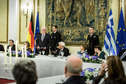Federal President Frank-Walter Steinmeier holds a speech at the dinner hosted by the President Prokopis Pavlopoulos in his offical residence in Athens during his first official visit to Greece