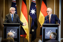Federal President Frank-Walter Steinmeier at at press conference with the Prime Minister of Australia, Malcolm Turnbull, on the occasion of his state visit to Australia