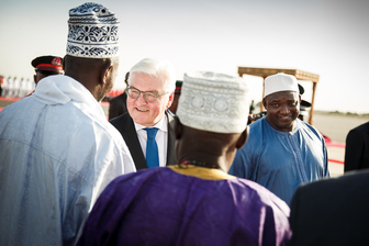 Federal President Frank-Walter Steinmeier is welcomed by President Adama Barrow at the airport in Banjul on the occasion of his state visit to the Republic of Gambia