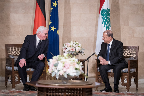 Federal President Frank-Walter Steinmeier in talks with Michel Aoun, President of the Lebanese Republic, in the Baabda Presidential Palace on the occasion of his official visit to Lebanon