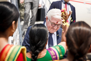 Federal President Frank-Walter Steinmeier arrives in Varanasi on the occasion of his state visit to India
