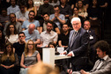 Federal President Frank-Walter Steinmeier holds a speech in the aula magnum at the University of Fribourg on the occasion of his state visit to Switzerland