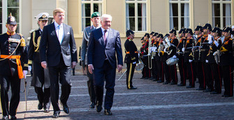 Federal President Frank-Walter Steinmeier is welcomed with military honours by King Willem-Alexander at the Paleis Noordeinde in The Hague on the occasion of his state visit to the Kingdom of the Netherlands