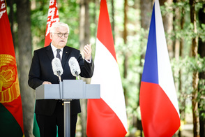 Federal President Frank-Walter Steinmeier holds a speech at the opening of the Maly Trostenets memorial site in Minsk in the Republic of Belarus