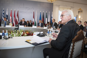 Federal President Frank-Walter Steinmeier at this year's Arraiolos Group meeting of non executive EU Presidents in Latvia