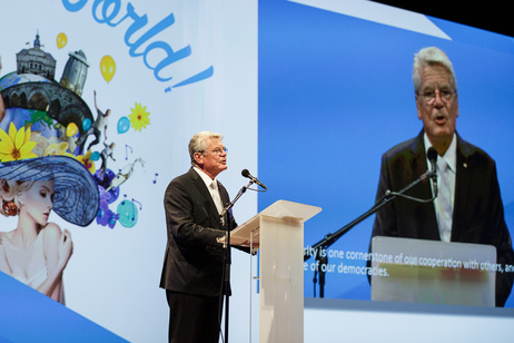 Federal President Joachim Gauck during his speech at the celebrations marking the bicentenary of the Kingdom of the Netherlands