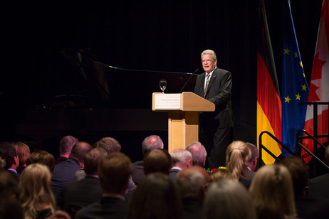 Federal President Joachim Gauck during his speech in Barney Danson Theater