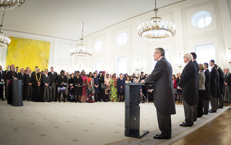 Federal President Joachim Gauck during his speech at the New Year reception for the Diplomatic Corps