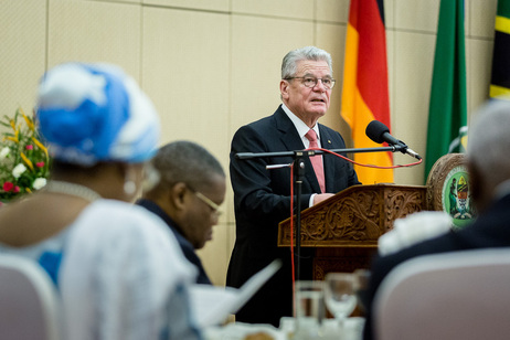 Federal President Joachim Gauck during his speech at a state banquet hosted by President Jakaya Kikwete on the occasion of his state visit to Tanzania