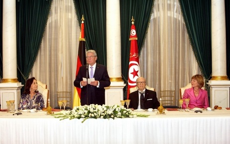 Federal President Joachim Gauck during his speech at the state banquet hosted by President Beji Caid Essebsi on the occasion of his state visit to Tunisia