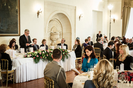 Federal President Joachim Gauck during his speech at a luncheon hosted by Prime Minister Joseph Muscat in the Auberge de Castille in Valletta on the occasion of his state visit to Malta