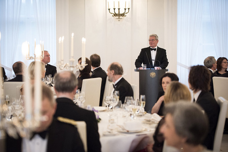 Federal President Joachim Gauck during his speech at the state banquet on the occasion of the State visit by the President of the Republic of Estonia