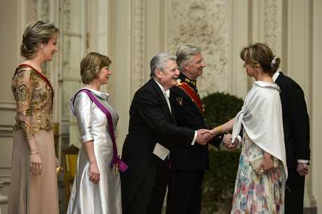 Federal President Joachim Gauck and Daniela Schadt at the state banquet on the occasion of the state visit to the Kingdom of Belgium