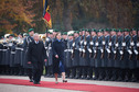 Federal President Joachim Gauck welcomed Kersti Kaljulaid, President of the Republic of Estonia, with military honours at Schloss Bellevue on the occasion of her first official visit