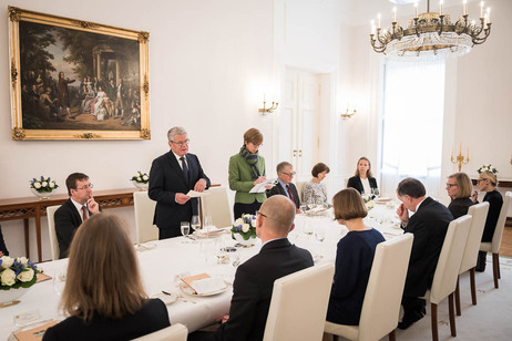 Federal President Joachim Gauck holds a speech at Schinkel Hall on the occasion of the official visit of the President of the Republic of Estonia