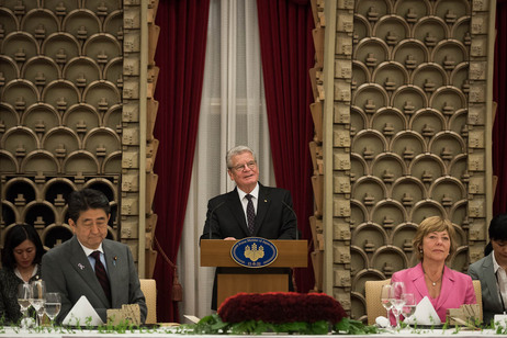 Federal President Joachim Gauck holds a speech at the dinner hosted by Prime Minister Shinzō Abe in Tokyo on the occasion of the official visit to Japan