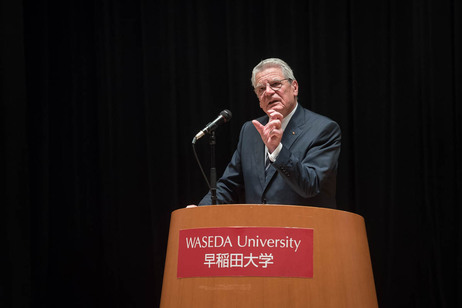 Federal President Joachim Gauck holds a speech at Waseda University in Tokyo on the occasion of the official visit to Japan