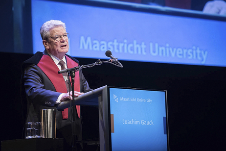 Federal President Joachim Gauck at the 'Dies Natalis' ceremony receiving an honorary doctorate by Maastricht University on the occasion of his visit to the Netherlands